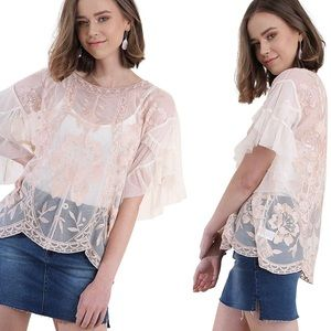 Umgee Sheer Floral Embroidered Lace Mesh Blouse S